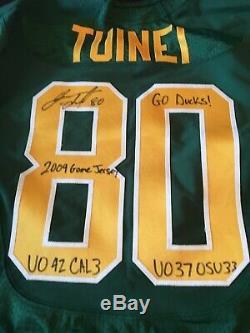 Oregon Ducks signed Game used worn throwback football Jersey Lavasier Tuinei