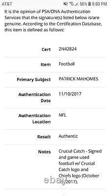 Patrick Mahomes Signed 2017 Rookie Season! Game Used Football PSA COARC Auto