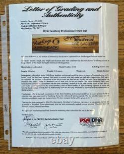 Ryne Sandberg Signed Game Used Rawlings 256b (1986) Psa Gu 7