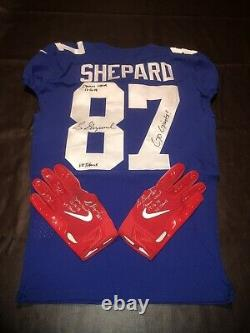 Sterling Shepard Giants Game Used Worn Jersey + Gloves Set Player Signed Coa