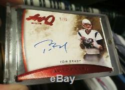 TOM BRADY 2015 Leaf Q #1/10 ON CARD AUTO & 2005 Gridiron Gear 4-Color GAME USED