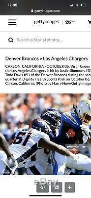 Todd Davis Signed Game Used Worn Denver Broncos Jersey