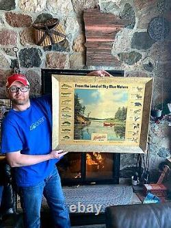 Vintage 1954 Hamms Beer Fish Game Wildlife Record Sign Hunting Fishing 33x26