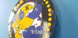 Vintage Pac Man Porcelain Midway Mfg Arcrade Video Game Service Station Bar Sign