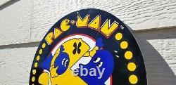 Vintage Pacman Porcelain Gas Oil Pac-man Video Game Atari Arcade Service Sign