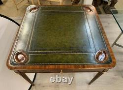Vintage Signed Maitland Smith Mahogany with Leather Top Game Table Writing Desk