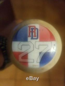 Vladimir Guerrero Jr Autographed Game Used Bat. Cracked Bat With Autograph Etched