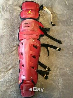 Yadier Molina Game Used Chest Protector with Knee pads Jumpman Signed JSA