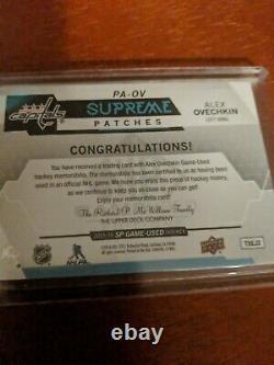 15-16 Ud Sp Jeu Utilisé Supreme Swatches Jersey Patch Alex Ovechkin Capitals 3/15