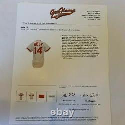 1985 Pete Rose Signé Jeu Cincinnati Reds Jersey Occasion Jsa & Gray Flanelle Coa