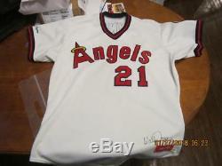 1987 Los Angeles Jeu Californie Anges Wally Joyner Utilisé Jersey Signé