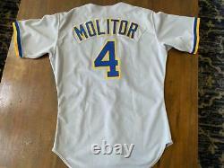 1988-92 Paul Molitor Brewers Jeu Utilisé - Signé Maillot De Baseball -mears Loa
