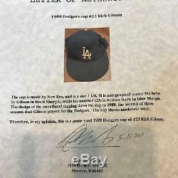 1989 Kirk Gibson Signé Jeu Casquette Casquette Dodgers De Los Angeles Psa Dna Coa