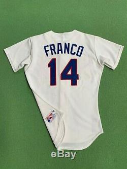 1990 Rangers Julio Franco Texas Game-occasion Et Autographié Accueil Jersey