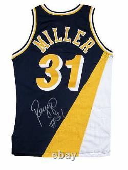 1991-92 Reggie Miller Jeu Utilisé Et Signé Indiana Pacers Flo Jo Road Uniforme Jer