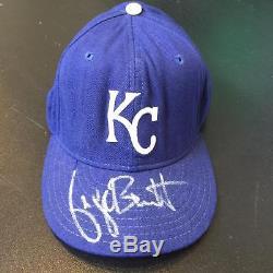 1993 George Brett Jeu Utilisé Signé Kansas City Royals Hat Saison Finale Jsa Coa
