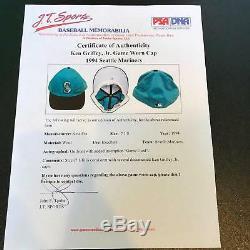 1994 Ken Griffey Jr. Inscrit Signé Jeu Utilisé Seattle Mariners Chapeau Psa Dna Bas