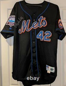 1998 Butch Huskey New York Mets Jeu Utilisé #42 Maillot Mda Patch Autographié