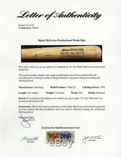 1998 Mark Mcgwire Jeu D'occasion Bat Signé St. Louis Cardinals Psa / Adn Loa