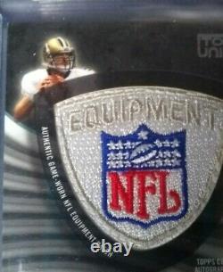 1/1 Topps Drew Brees Saints Jeu Worn/used NFL Shield Logo Patch Autographe Autographe