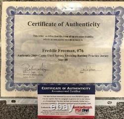 1er Rookie Freddie Freeman Jeu Utilisé Jersey Atlanta Braves Coa Psa Signé Mvp
