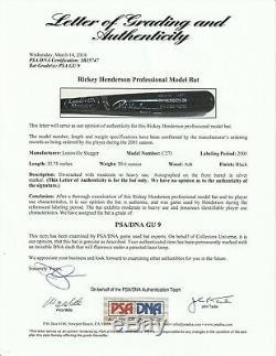 2001 Henderson Rickey H & B Jeu Occasion Et Signé Bat Psa / Adn Gu 9