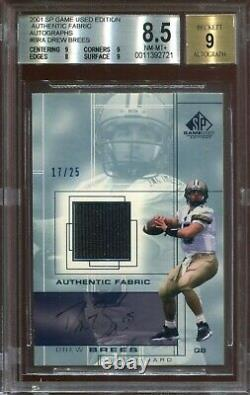 2001 Sp Game Used Edition Drew Brees Autographed Jersey Rookie Bgs 8.5 Auto 9