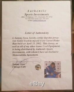 2002 Sammy Sosa Signé Chemin Blue Jeu D'occasion Hr Jersey Chicago Cubs Avec Sosa Coa
