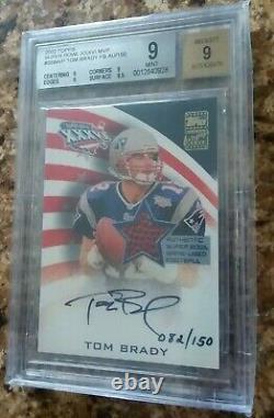 2002 Topps Super Bowl Autographe Relic Tom Brady /150 Mint 9 Patriotes Jeu Utilisé