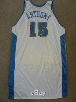 2004-05 Carmelo Anthony Jeu Maillot Gris Flanelle Steiner Loa Signé / Porté