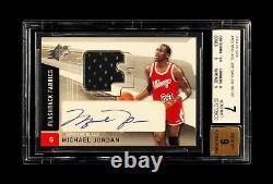 2004-05 Michael Jordan Ud Spx Flashback Fabrics Jeu Utilisé Sp Patch Auto Bgs 7