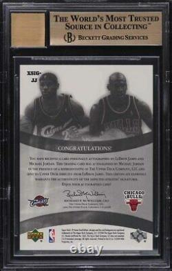 2004 Sp Jeu Utilisé Duals Lebron James & Michael Jordan Auto /25 Bgs 9.5