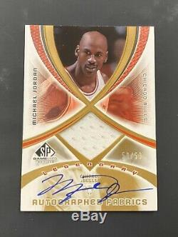 2005-06 Sp Jeu Utilisé Legendary Michael Jordan Autographed Fabrics Jsy Auto 50/50