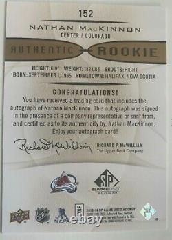 2013-14 Sp Jeu Utilisé Gold Autographs #152 Nathan Mackinnon Rookie Auto Flawless