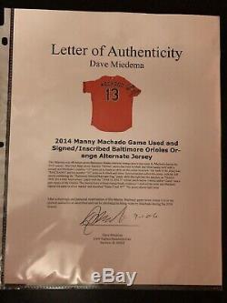 2014 Manny Machado Game Utilise Le Maillot Signé / Inscrit Des Orioles De Baltimore (psa / Dna)