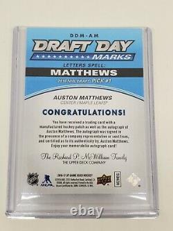 2016-17 Auston Matthews Sp Jeu Utilisé Draft Day Marks Rookie Auto Letter W 08/1