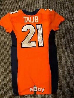 2016 Aqib Talib Denver Broncos Jeu Anciens Et D'occasion Jersey Zone D'exclusion Aérienne Sb 50 Champs