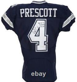 2016 Dallas Cowboys Dak Prescott Portés / Jeu Et Signé Jersey Utilisé Rookie