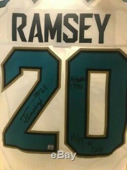2016 Jalen Ramsey Jeu Utilisé Jacksonville Jaguars Chandail Autographié Rookie Vs Colts