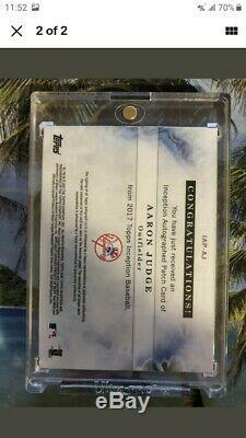 2017 Inception Aaron Judge Topps Auto / Jeu Utilisé Patch Rookie / 199 Yankees $$$