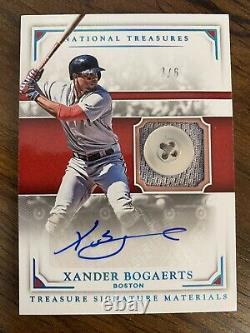 2017 Trésors Nationaux Xander Bogaerts /6 Jeu Utilisé Jersey Button Auto Red Sox
