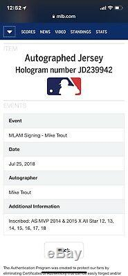 2018 Mike Trout Jeu D'occasion Bp Asg Jersey Inscribed Signé Goujon 5 Outil Player 1/1