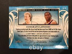 2019 Leaf In The Game Utilisé Larry Bird Magic Johnson Dual Auto Patch Signé #/7