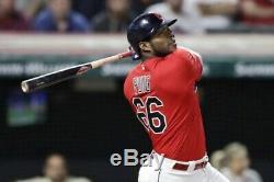 2019 Yasiel Puig Jeu Utilisé Autographiés Signé Cleveland Indians Majestic Jersey