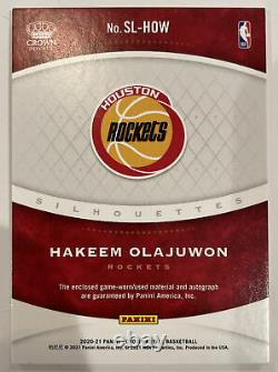 2020-21 Hakeem Olajuwon 29/49 Game Worn Patch On Card Auto Silhouettes #sl-how