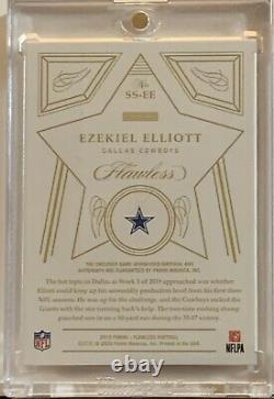 2020 Ezekiel Elliott Sans Faille 1/5 Auto Game Utilisé 2 Clr Star Swatch Ruby Cowboys