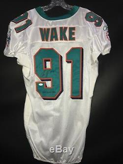 # 91 Cam Wake Miami Dolphins Chandail Autographié Reebok Blanc Occasion Game Jsa Coa Yr-2011