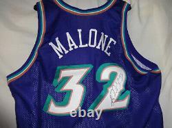 96-97 Utah Jazz Karl Malone Jeu Utilisé Usé Délivré Nba Basketball Jersey Signé