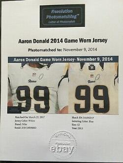 Aaron Donald Rookie Jeu D'année D'occasion Jersey, Photomatch Et Autographié Usé