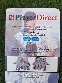 Aaron Judge Signé Par Les New York Yankees Jeu Utilisé Gants De Frappeur Joueurs Direct Coa